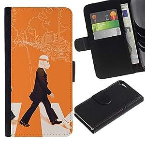 MobileTech / Apple Iphone 5 / 5S / Lennon Storm Trooper - Pop Art / Cuero PU Delgado caso Billetera cubierta Shell Armor Funda Case Cover Wallet Credit Card