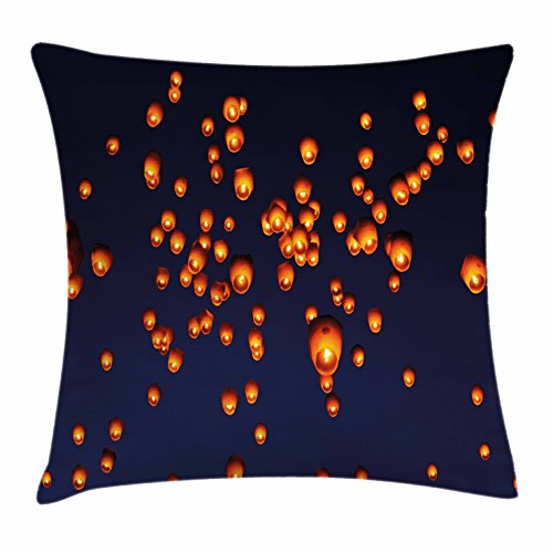 Lantern Throw Pillow Cushion Cover by Ambesonne, PingXi District Festival at Night Taipei Taiwan Good Vibes Hope for Future, Decorative Square Accent Pillow Case, 18 X 18 Inches, Night Blue Orange