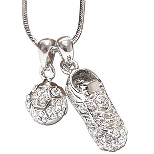 Lola Bella Gifts Crystal Soccer Ball Cleats Sports Pendant Necklace with Gift Box ()