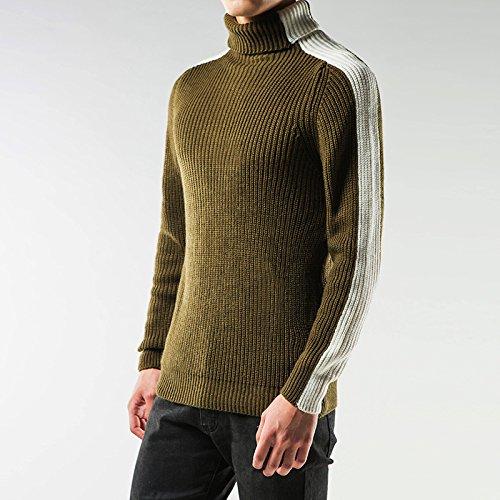 Jdfosvm eine Mode, langärmelige Rollkragenpullover Hemd Winter männer lässig Hemd Farbe Pullover,schwarz - grün,XL