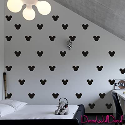 2x1.6 Set of 150 Mickey Mouse Head Inspired Ears Polka Dot Wall Decal Decor Decals Sticker Art Baby Nursery Surface Graphics Bedroom Bed M1603 Made in USA: Baby