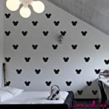 2x1.6 Set of 150 Mickey Mouse Head Inspired Ears Polka Dot Wall Decal Decor Decals Sticker Art Baby Nursery Surface Graphics Bedroom Bed M1603 Made in USA