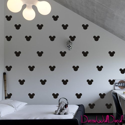 2x1.6 Set of 150 Mickey Mouse Head Inspired Ears Polka Dot Wall Decal Decor Decals Sticker Art Baby Nursery Surface Graphics Bedroom Bed M1603 Made in USA by DecorWallDecals