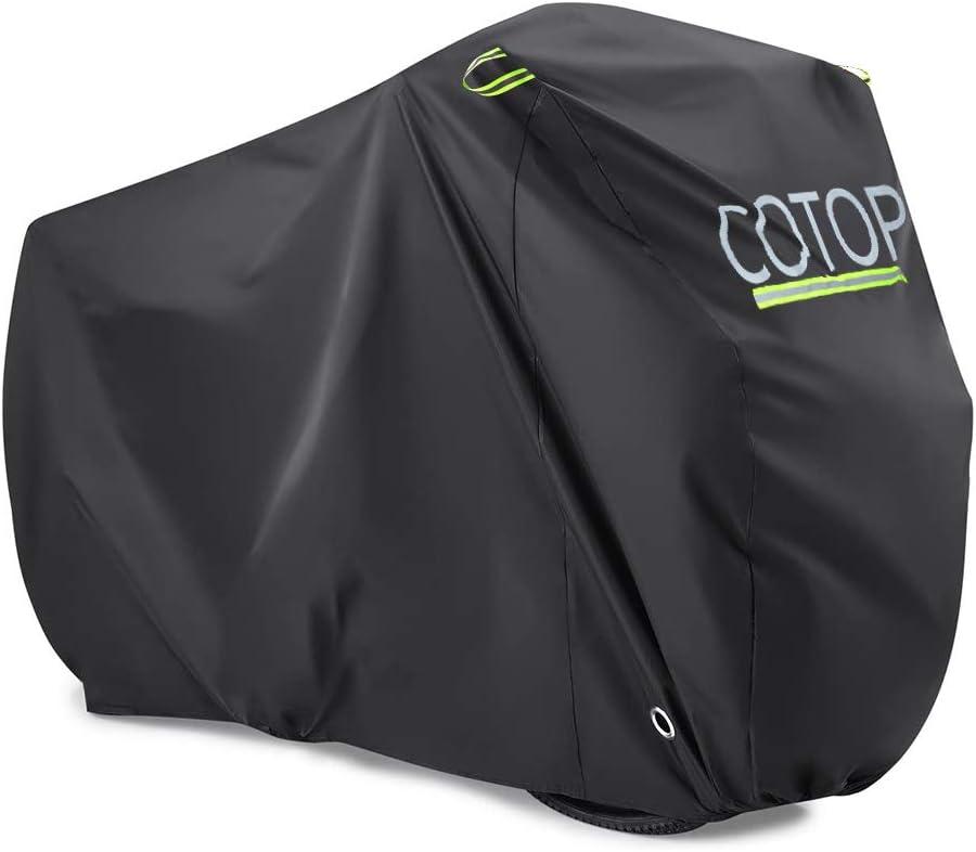 COTOP Funda para Bicicleta, 210T Cubierta Impermeable para Bicicleta Protección UV Anti Polvo Lluvia con Orificios de Bloqueo para Bicicleta de montaña/Bicicleta de Carretera/Bicicleta de Ruta