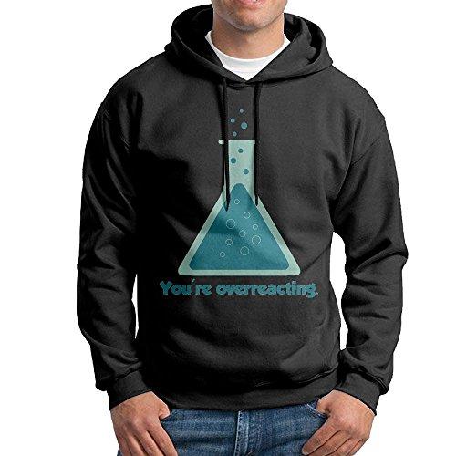 ZhiqianDF You're Overreacting Chemistry Men's Pullover EcoSmart Fleece Hooded Sweatshirt Black - Running Warehouse Card Sale Gift
