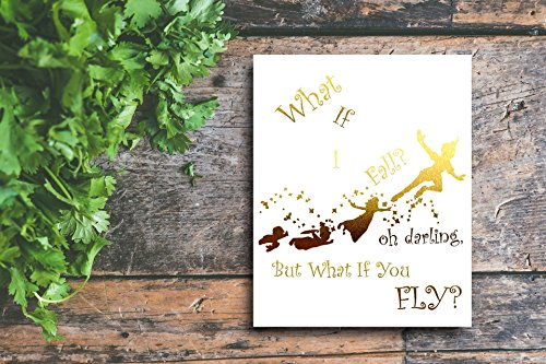 Peter Pan Gold Foil Art Inspirational Quote 8 inches x 10 inches Custom Made Wall Art by My Golden Wish