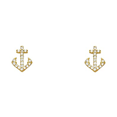 14K Yellow Gold Round Cut CZ Screw Back Stud Earrings Ioka