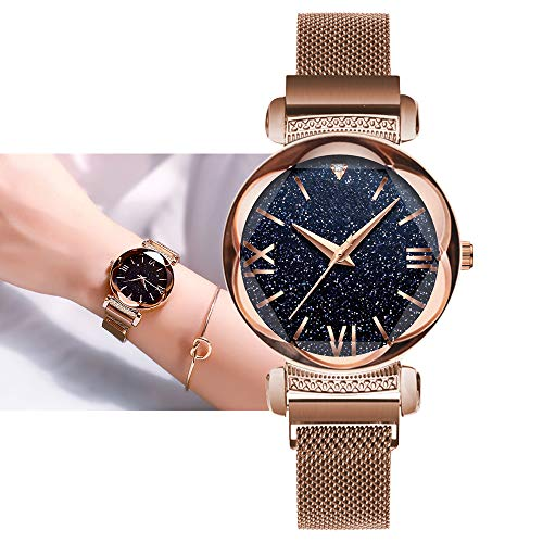 Ladies Watch New Fashion Star Watch Waterproof Casual Purple Bracelet Watches Stainless Steel Mesh Belt with Unique Magnet Lock, no Buckle (Roman - Gold)
