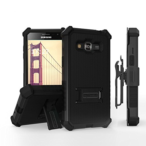 Galaxy J3 Case, Express Prime, AMP Prime, Galaxy Sky, Sol, PimpCase Durable Hybrid Rugged [Full Body Protection] Armor Shockproof Black Phone Cover With Built In Kickstand Holster Screen Protector