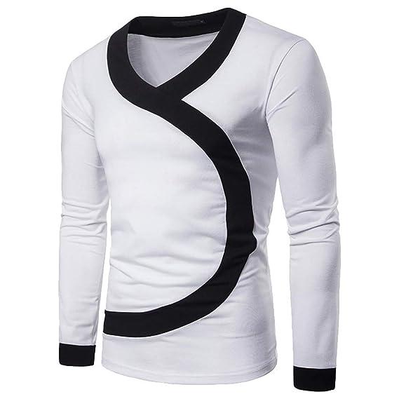 Hombre Otoño Invierno Casual Patchwork Manga Larga Slim O-Cuello Camiseta Top Blusa por Internet