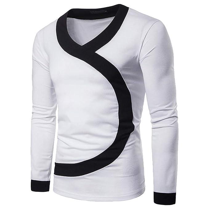 Yvelands Camisas para Hombres Liquidación, Camisas de Invierno para Hombres Camisa de Manga Larga con Cuello en Ola de Patchwork Casual.
