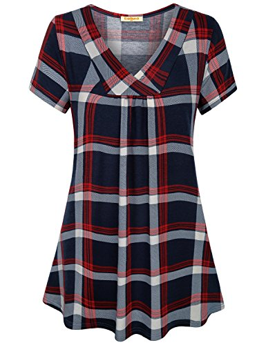 Baikea Buffalo Plaid Tops for Women, Cross V Neck Short Sleeve Loose Casual Tunic Tops with Center Pleats XL Buffalo Plaid Tunic Top
