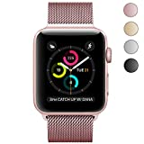 Yearscase Milanese Loop with Adjustable Magnetic Closure Replacement Metal iWatch Band for Apple Watch Series 3/2/1 Nike+ Sport and Edition 38mm Rose Gold