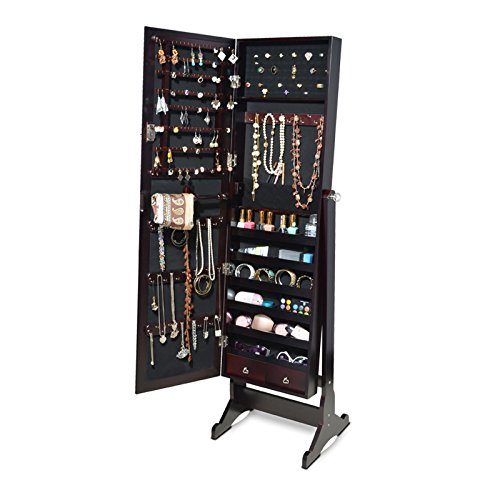 GLS Brown Mirrored Jewelry Armoire with Lock Floor Standing Organizer Rings Necklaces Bracelets