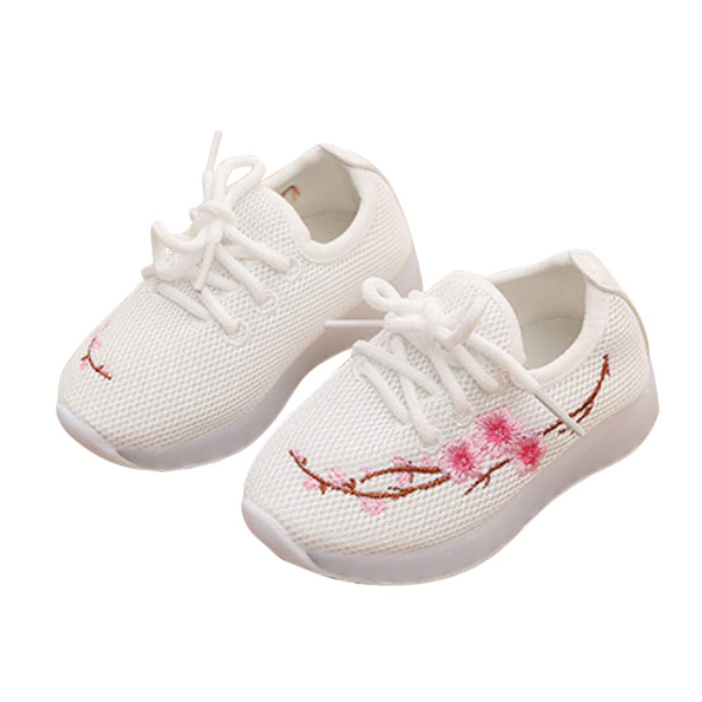 Weiyun Kids Baby Boys Girls Embroidery Flower Sport Running LED Luminous Shoes Sneakers