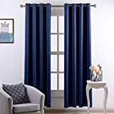 Nicetown Window Treatment Energy Saving Thermal Insulated Grommet Blackout Curtains /Drapes for Livingroom (1 Pair,52 by 84-Inch,Royal Blue)