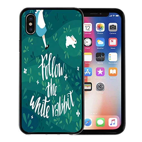 (Emvency Phone Case for Apple iPhone Xs case,Story Follow The White Rabbit Girl Runs After Hand Lettering Phrase for Easter and Character for iPhone X Case,Rubber Border Protective)