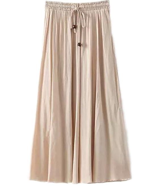 eae2c0492 Falda Larga Mujer Cintura Larga Camiseta Maxi Faldas Beige One Size ...
