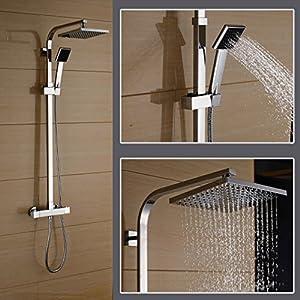 Auralum® Duschset mit Thermostat und Höhenverstellbar ca. 82 bis 122cm...