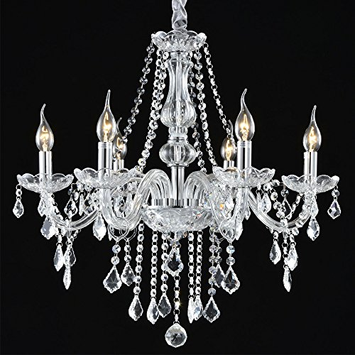 Boshen Crystal Chandelier 6 Lights Fixture Pendant Ceiling Lamp for Dining Room Living Room Decoration