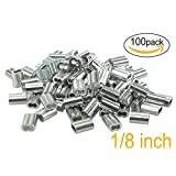 """Aluminum Crimping Loop Sleeve for 1/8"""" Diameter Wire Rope and Cable((Pack of 100))"""