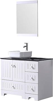Amazon Com Sliverylake 36 Bathroom Vanity Ceramic Vessel Sink Combo Pvc Cover Cabinet Countertop Sink Bowl W Mirror Set White Square Kitchen Dining