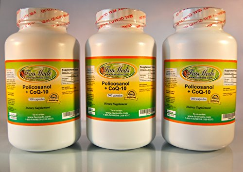 Policosanol + Coq10, Polycosanol, Cholesterol Aid, Heart Health, Made in USA - (3 Bottles - 900 [3x300] Capsules) by Favmedsusa