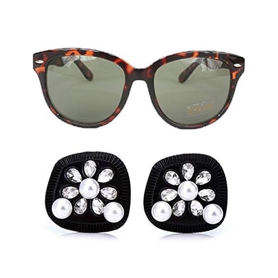Utopiat pendientes de perlas negras y gafas de sol ...