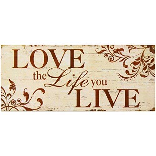 qidushop con Scritta Love The Life You Live Burnt Colore: Arancione e Beige Targa Decorativa in Legno da Appendere alla Parete