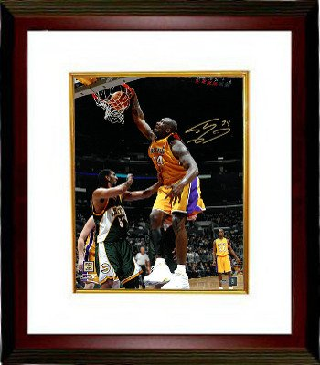 Athlon CTBL-MW18686 Shaquille O Neal Signed Los Angeles Lakers Photo Custom Framed No.34 - Dunk vs Seattle - 16 x 20