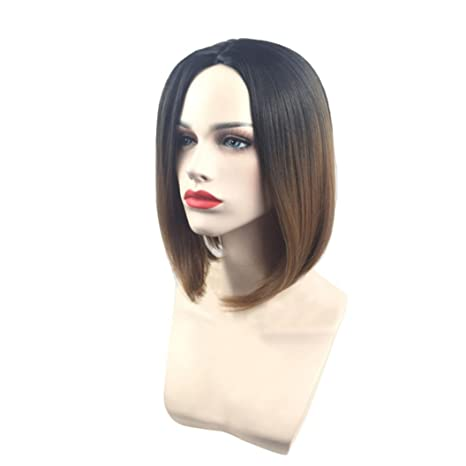 Amazon.com : Huphoon Short Full Wig Bob 36cm Short Straight Gradient Color Fiber False Hair (C) : Beauty