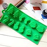Yunko W0774 12-cavities Christmas Santa Christmas Tree Gift Silicone Baking Mold Bakeware