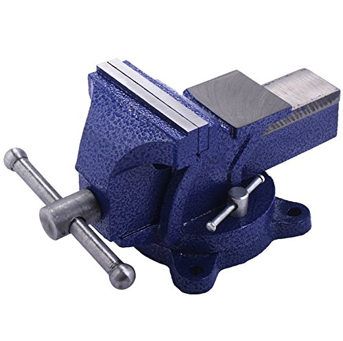 5 inch Mechanic Bench Vise Tabletop Work Bench Top Clamp Vises Swivel Press Locking Base Mount On Working Truck Heavy Duty Woodworking Steel Jaws Hand Tools Durable Cast Iron Home Business Application