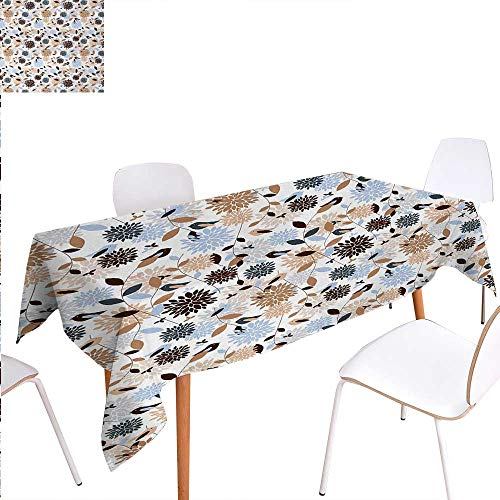 Warm Family Earth Tones Rectangular Tablecloth Flourishing Hydrangea Flowers in Abstract Style Skinny Stems with Leaves Oblong Wrinkle Resistant Tablecloth 52