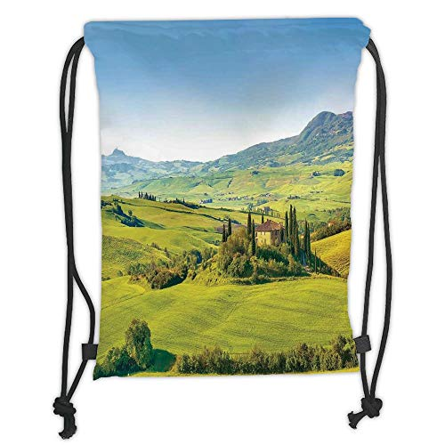 New Fashion Gym Drawstring Backpacks Bags,Tuscan,Rural Landscape Cypresses Along the Path to Ancient Vineyard Farm House,Green and Light Blue Soft Satin,Adjustable String Closure,