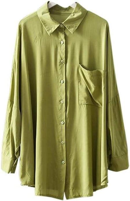 DAFREW Camisa de Manga Larga Camisa con Botones Camisa de un Solo Bolsillo Camisa Suelta de Joker Camisa de Color sólido Camisa Delgada Transpirable de Verano (Color : Verde, Tamaño : XXXL):