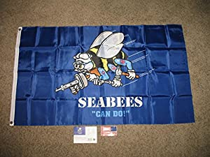 Seabees Can Do Solarmax Nylon 3Ft X 5Ft 3X5 Flag Banner With Decal