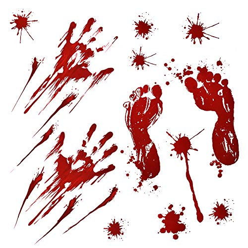 HOMOR Bloody Footprints Floor Clings, 61Pcs Handprints Window Clings Decals for Horror Zombie Halloween Party Decorations Supplies Props & Decor