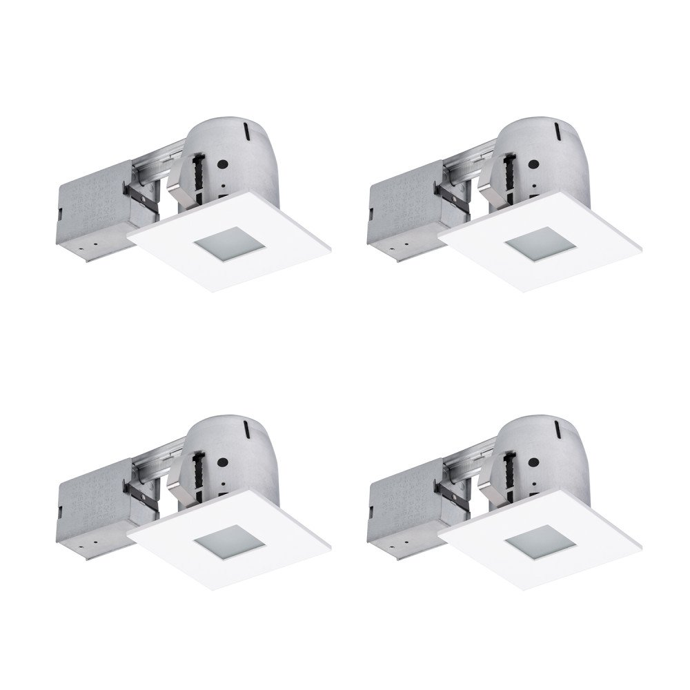 Globe Electric 4'' LED IC Rated Shower Dimmable Downlight Recessed Lighting Kit, Easy Install Push-N-Click Clips, Contractor's (4-Pack), 4x LED Bulbs Included, Globe Electric 90951, White