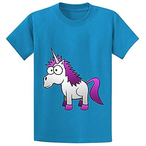 Andy Unicorn Cute Girls Crew Neck Graphic T Shirt Blue (Jamaican Bible)