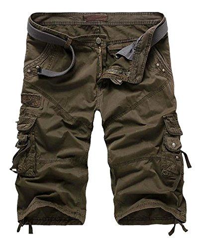 (Wxian Men's Multi-Pocket Work Wear Cargo Shorts)