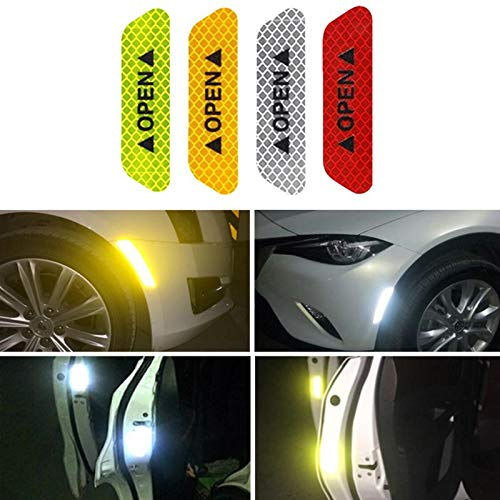 ETbotu 4Pcs/Set Safety Reflective Tape Open Sign Warning Safety Mark Car Door Reflector Strips Sticker Accessory Diamond Fluorescent Green by ETbotu (Image #2)