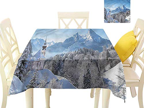 WilliamsDecor Small Square Tablecloth Winter,Bavaran Alps Germany Kitchen Table Cover W 50