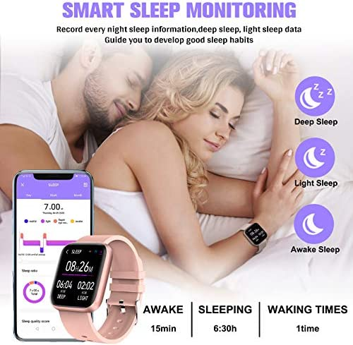Peakfun Smart Watch,Fitness Watch Activity Tracker with Heart Rate Blood Pressure Monitor IP67 Waterproof Touch Screen Bluetooth Android Phone Smartwatch Sports Watch for Android iOS Phones Women Pink 5
