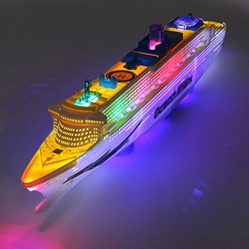 Flashing LED Lights Sound Ocean Liner Models Cruises Boat Electric Toys Kids Christmas Birthday Gift