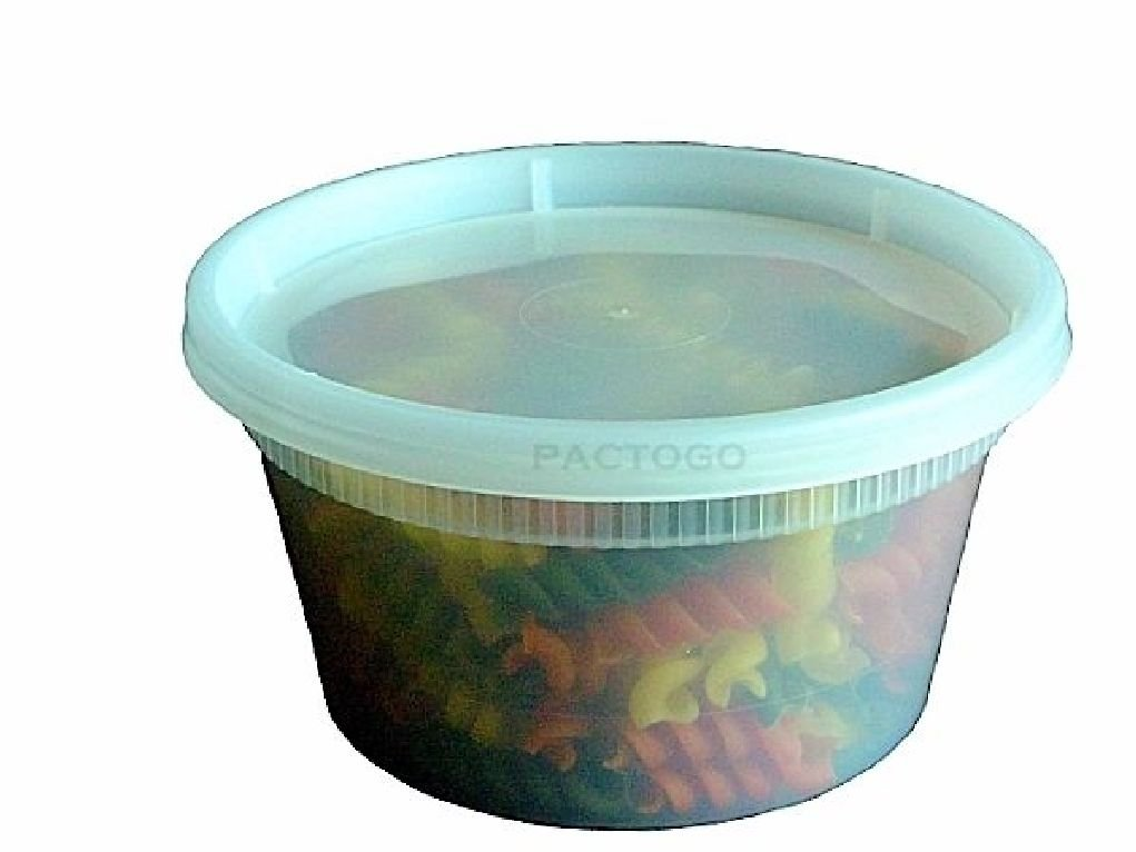 12 oz. Plastic Freezer Food Soup Storage Soup Containers Tubs w/Lid 240/CS