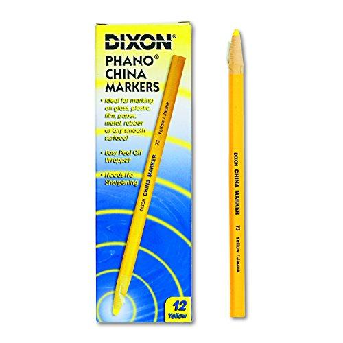 Dixon Phano Peel-Off China Marker Pencils, Yellow, 12-Count (00073) -