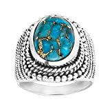 Silpada 'Atlas' 5 ct Compressed Copper Turquoise Beaded Ring in Sterling Silver