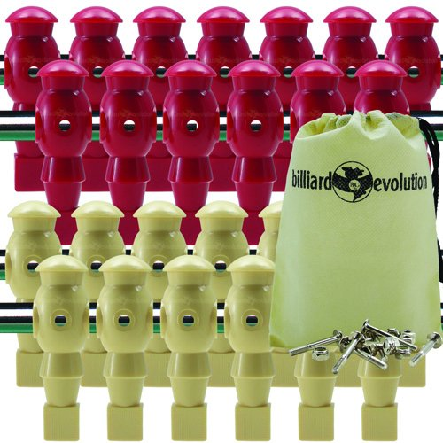 26 Red and Tan Robotic Foosball Men with Free Screws and Nuts and Billiard Evolution Drawstring Bag
