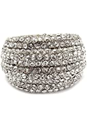 Glamorous Dome Shaped Cocktail Fashion Statement Ring with Dazzling Clear Crystals - Stretch Band
